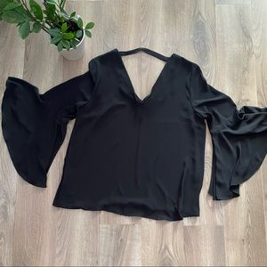 Le Chateau Bell Sleeve Cropped Black Blouse